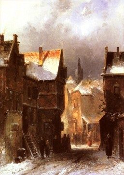 A Dutch Town In Winter landscape Charles Leickert Oil Paintings