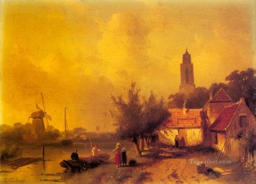 A River Landscape With Figures Charles Leickert Oil Paintings
