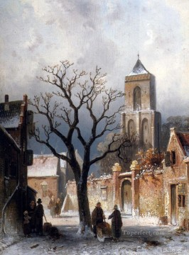 A Village Snow Scene landscape Charles Leickert Oil Paintings