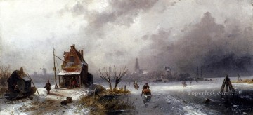 Figures On A Frozen Lake landscape Charles Leickert Oil Paintings