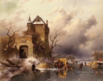 Lake Oil Painting - Skaters On A Frozen Lake By The Ruins Of A Castle landscape Charles Leickert