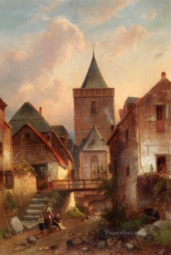 View In A German Village With Washerwomen landscape Charles Leickert Oil Paintings