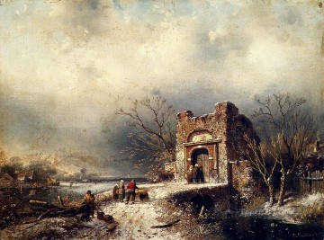 Villagers On A Frozen Path landscape Charles Leickert Oil Paintings