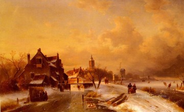 Summer Art - Winter And Summer Canal ScenesScene 1 landscape Charles Leickert