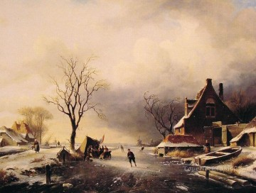 Winter Scene with Skaters landscape Charles Leickert Oil Paintings
