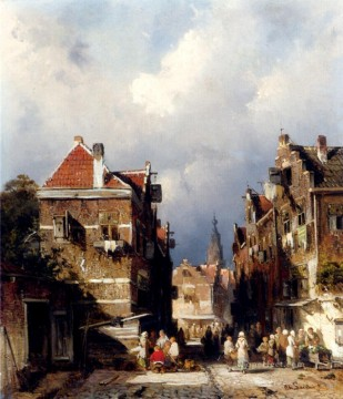 A Dutch Street Scene landscape Charles Leickert Oil Paintings