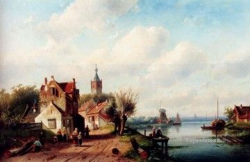 A Village Along A River A Town In The Distance landscape Charles Leickert Oil Paintings
