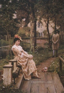 Off historical Regency Edmund Leighton Oil Paintings
