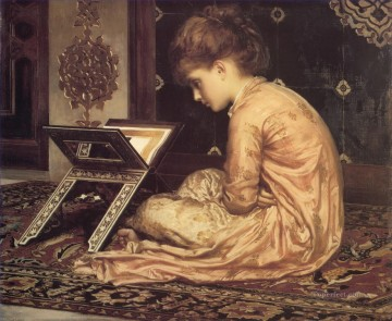 Study At a Reading Desk Academicism Frederic Leighton Oil Paintings