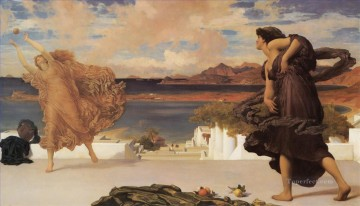 Girls Canvas - Greek Girls Playing at Ball Academicism Frederic Leighton