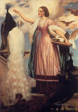 A Girl Feeding Peacocks Academicism Frederic Leighton Oil Paintings