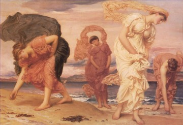 Girls Canvas - Greek Girls Picking up Pebbles Academicism Frederic Leighton