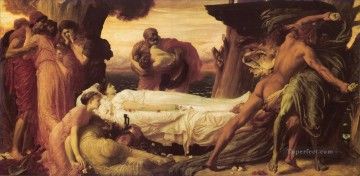 Lord Frederic Leighton Painting - Hercules Wrestling with Death Academicism Frederic Leighton