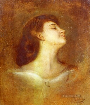 Portrait Painting - Portrait Of A Lady In Profile Franz von Lenbach