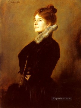 Portrait Painting - Portrait Of A Lady Wearing A Black Coat With Fur Collar Franz von Lenbach