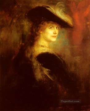 portrait Art - Portrait Of An Elegant Lady In Rubenesque Costume Franz von Lenbach