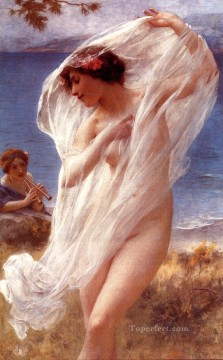 Sea Painting - A Dance By The Sea realistic girl portraits Charles Amable Lenoir
