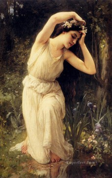 A Nymph In The Forest Charles Amable Lenoir واقعية فتاة صورة بورتريه رسم زيتي