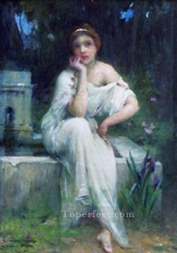 on canvas - Etude pour une meditation realistic girl portraits Charles Amable Lenoir