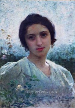Girl Works - Eugenie Lucchesi realistic girl portraits Charles Amable Lenoir
