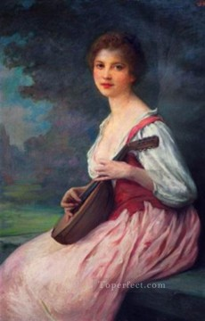 La Mandoline realistic girl portraits Charles Amable Lenoir Oil Paintings