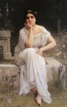 on canvas - Meditation 1899 realistic girl portraits Charles Amable Lenoir