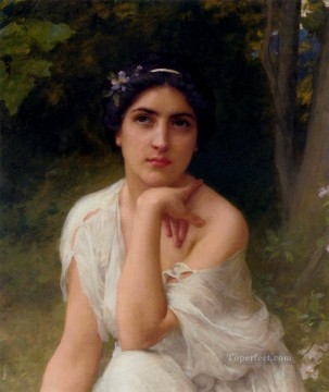 Pensive realistic girl portraits Charles Amable Lenoir Oil Paintings