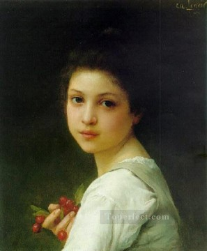 young Art - Portrait of a young girl with cherries realistic girl portraits Charles Amable Lenoir