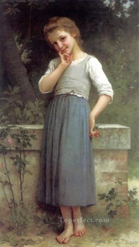 Portrait Painting - The Cherrypicker 1900 realistic girl portraits Charles Amable Lenoir