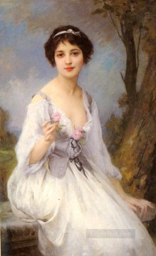 portrait Art - The Pink Rose realistic girl portraits Charles Amable Lenoir