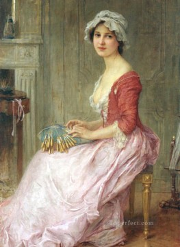 Girl Works - The Seamtress realistic girl portraits Charles Amable Lenoir