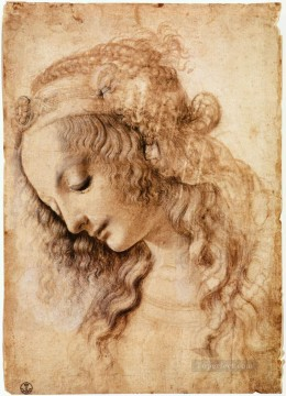 Vinci Oil Painting - Womans Head Leonardo da Vinci