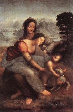 Virgin Painting - The Virgin and Child with St Anne Leonardo da Vinci