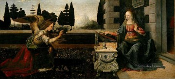 Leonardo da Vinci Painting - The Annunciation Leonardo da Vinci