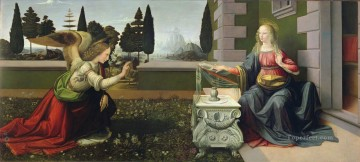 Vinci Oil Painting - The Annunciation Leonardo da Vinci after repair