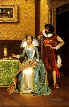 Adolphe Alexandre Lesrel Painting - The Attentive Courtier Academic Adolphe Alexandre Lesrel