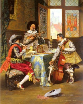 musical Painting - The Musical Trio Academic Adolphe Alexandre Lesrel