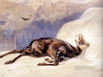 red Oil Painting - The Chamois Sketched In The tyrol animal John Frederick Lewis