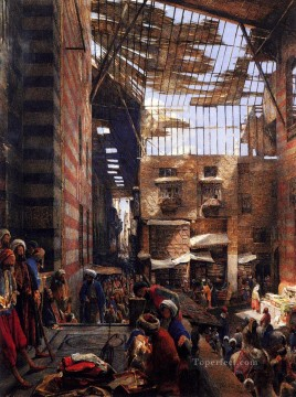 John Frederick Lewis Painting - A View Of The Street And Morque Of Ghorreyah Cairo Oriental John Frederick Lewis