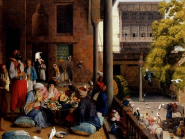 John Frederick Lewis Painting - The Midday Meal Cairo Oriental John Frederick Lewis