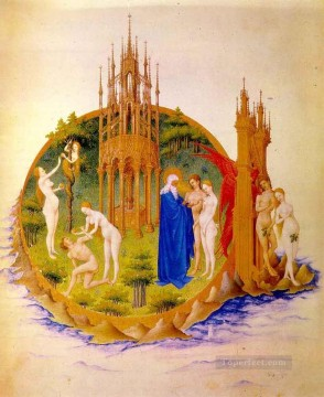 Limbourg Jean Painting - The Fall And The Expulsion From Paradise Limbourg Jean