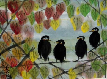 Leaves Art Painting - birds in leaves old China ink