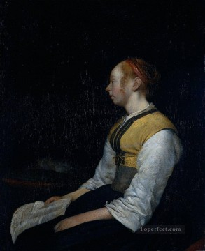 Painters Art - Borch II Gerard ter Girl in Peasant Costume Probably Gesina the Painters Half Sister Christian Filippino Lippi