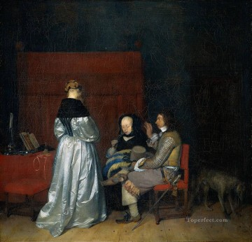Christian Oil Painting - Borch II Gerard ter Gallant Conversation known as The Paternal Admonition Christian Filippino Lippi