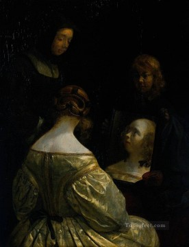 Christian Oil Painting - Borch II Gerard ter Woman at a Mirror Christian Filippino Lippi