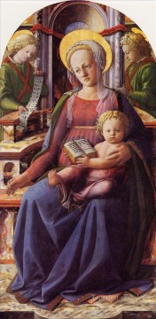 Christian Oil Painting - Madonna and Child enthroned with two Angels Christian Filippino Lippi