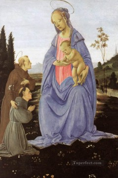 Christian Oil Painting - Madonna with Child St Anthony of Padua and a Friar before 1480 Christian Filippino Lippi