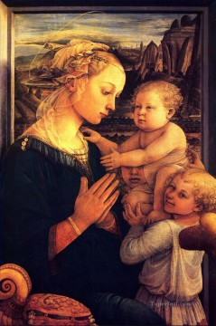 Christian Oil Painting - Virgin with children Christian Filippino Lippi