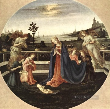 Adoration Art - Adoration of the Child 1480 Christian Filippino Lippi