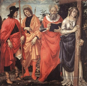 Altarpiece Painting - Four Saints Altarpiece 1483 Christian Filippino Lippi
